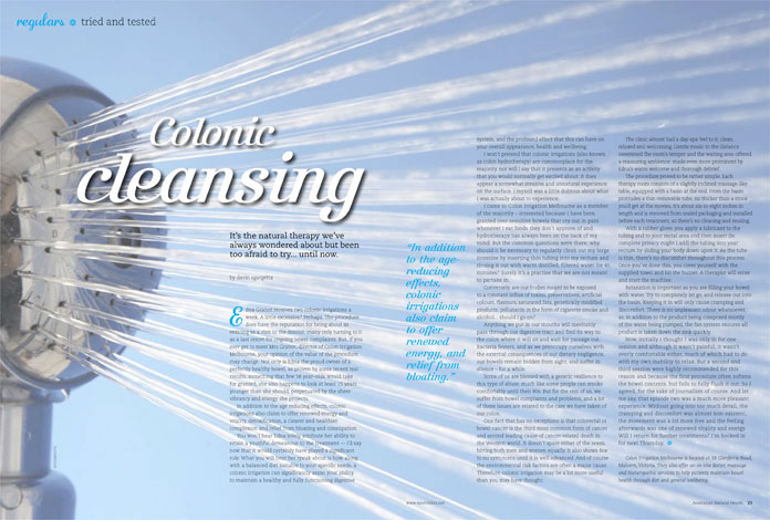 Colon Cleansing article by Australian Natural Health