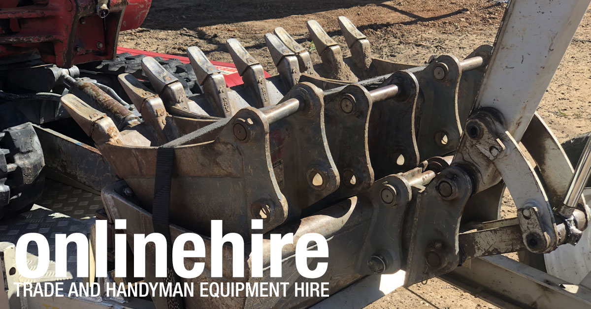 At Online Hire our 1.9 tonne mini excavators have all buckets included in the hire charges.