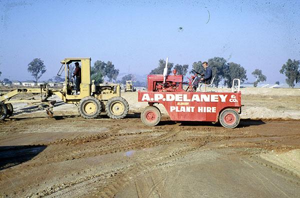 A-P-Delaney-History-Roller-Grader-On-Site-Old-Work-Albury