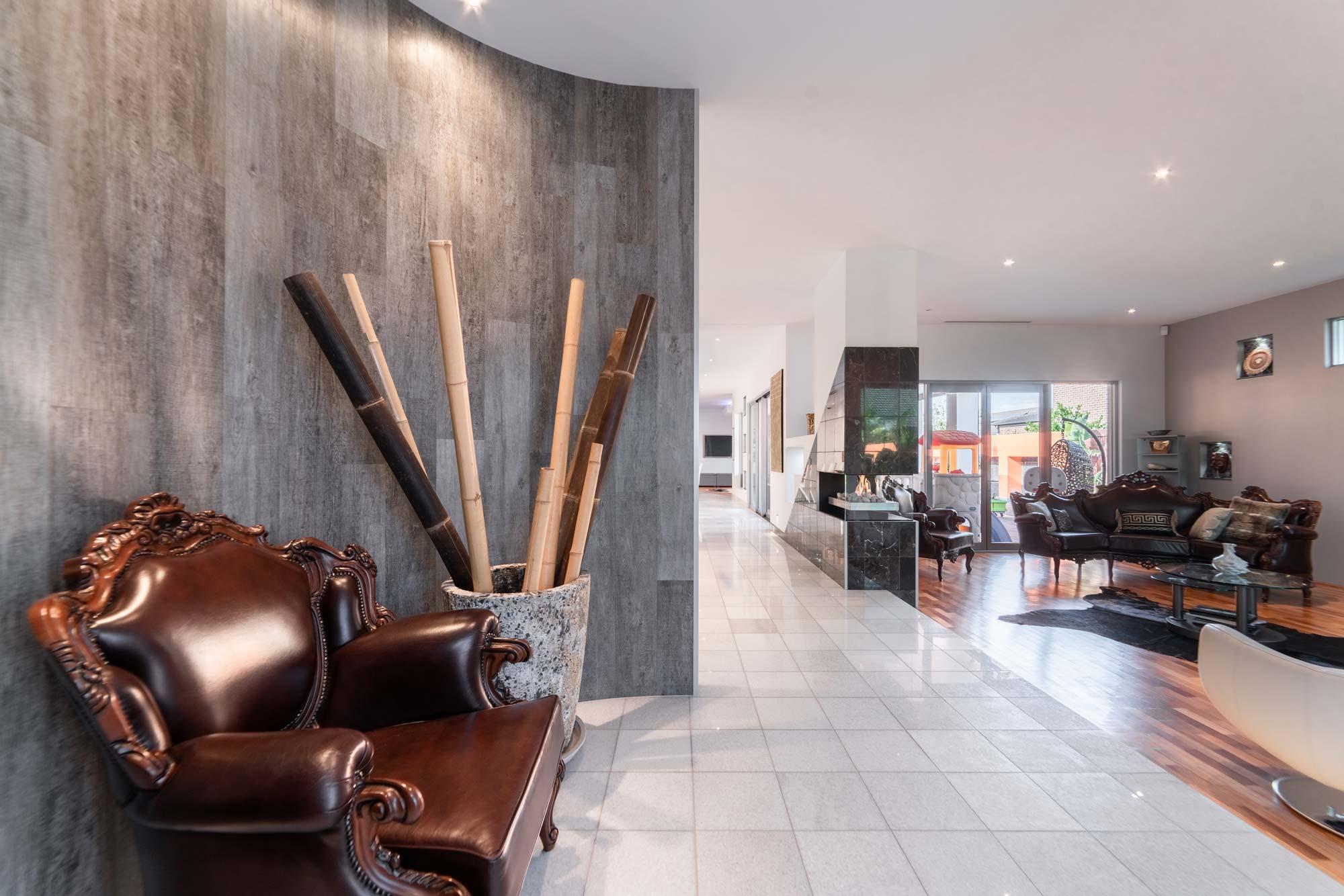 Modern, tiled interior space