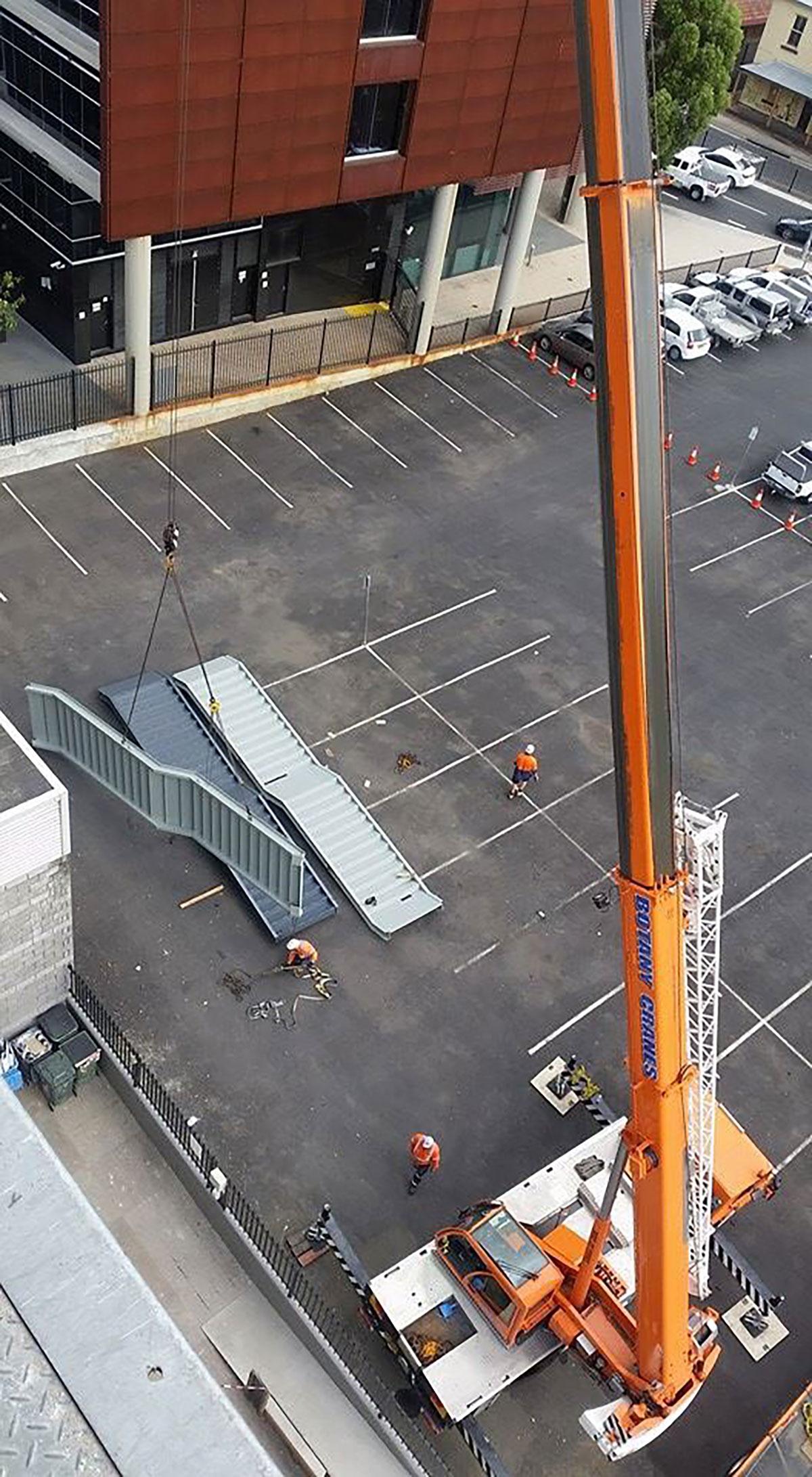 Botany Cranes 20 tonne crane stair installation