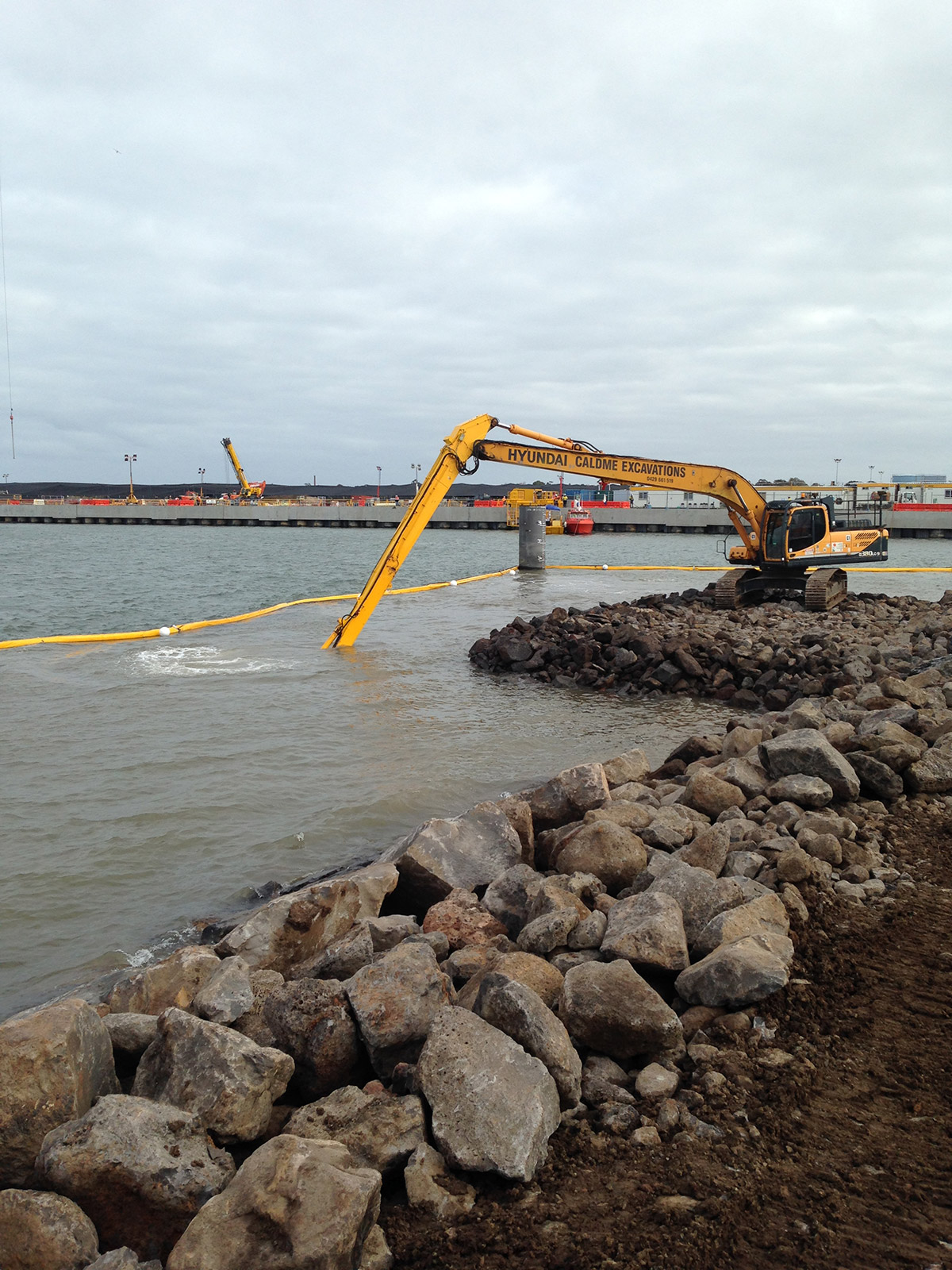 Caldme Excavations Long Reach Excavator marine construction