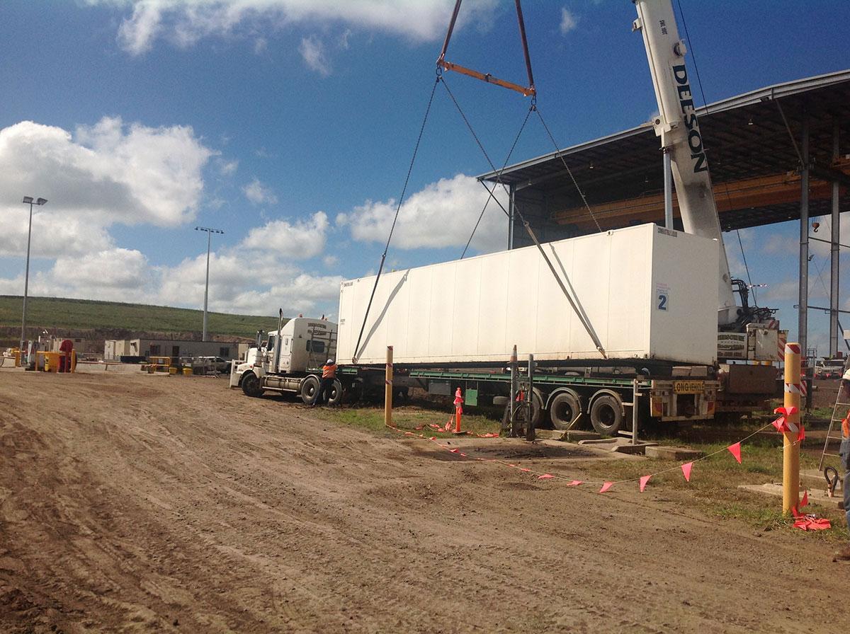 Crane lifting truck