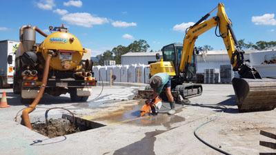 Ezali Hydro Excavation & Communications sucker trucks vacuum excavation at rural work site
