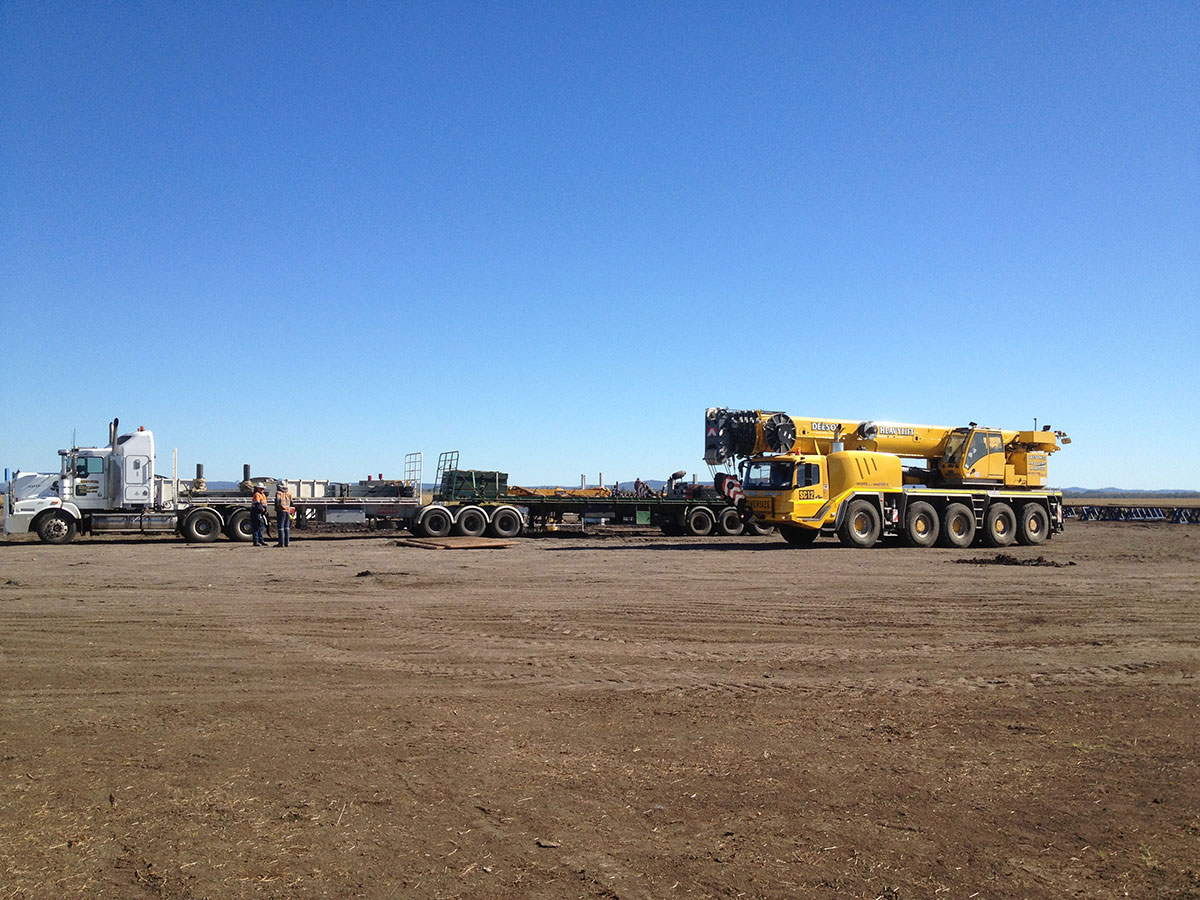 Franna crane and prime mover onsite