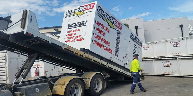 Generent-Equipment-Rental-loading-Generator-on-truck-distribution-equipment-hire-brisbane-perth