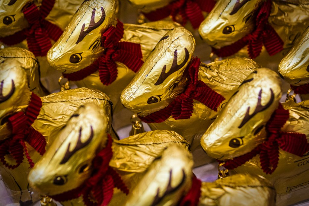 Commercial photograph of Lindt chocolate easter bunnies by Norwich based photographer P Carver
