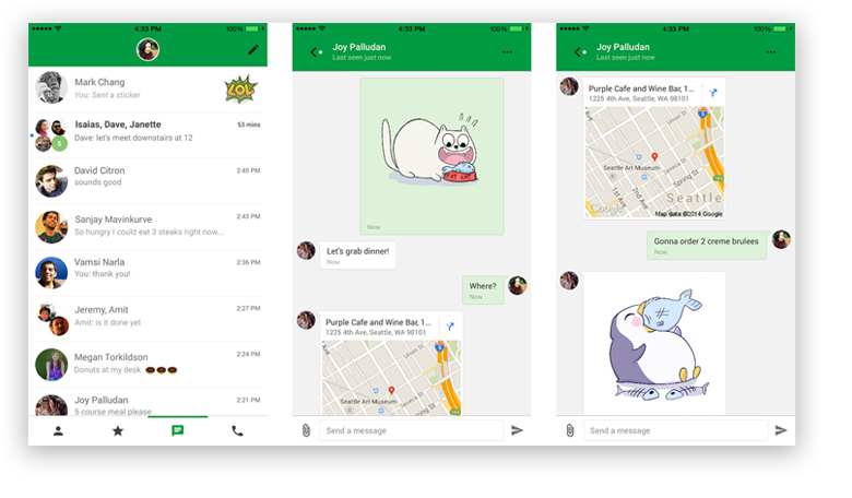 Google Hangouts Interface