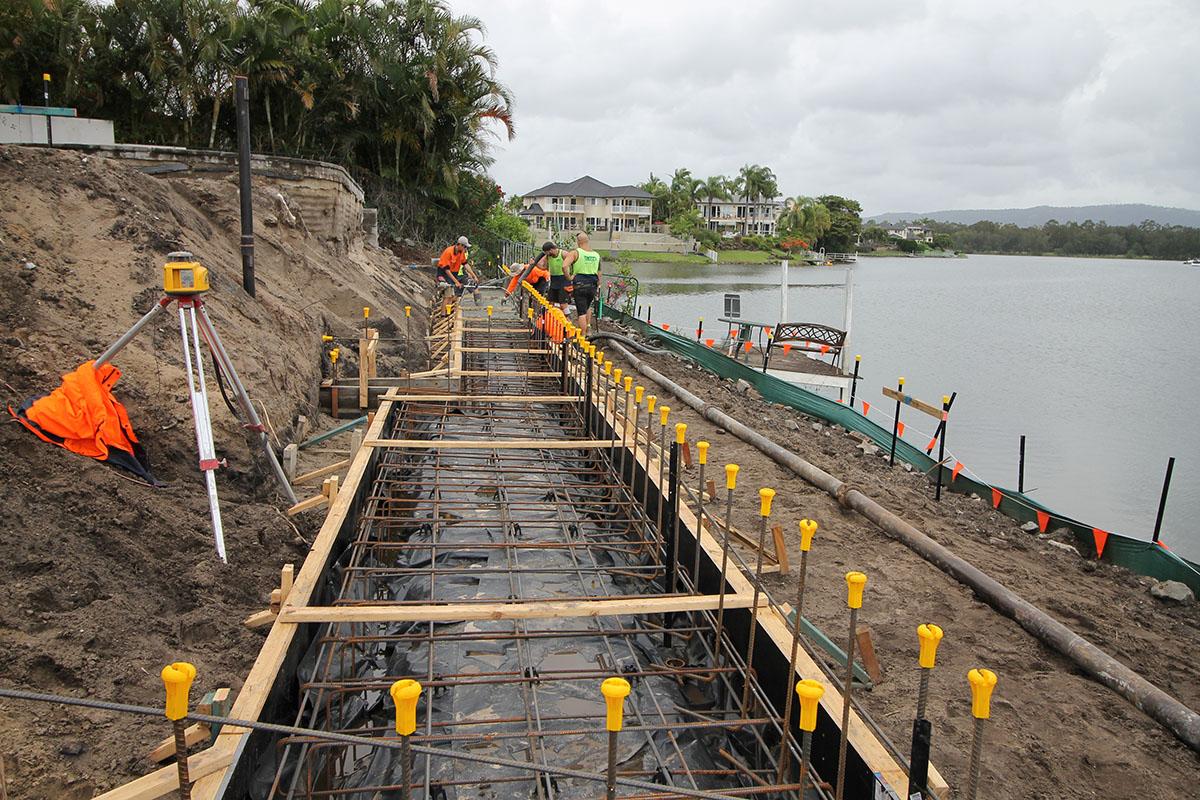 Hoys Retaining wall foundation concrete pour