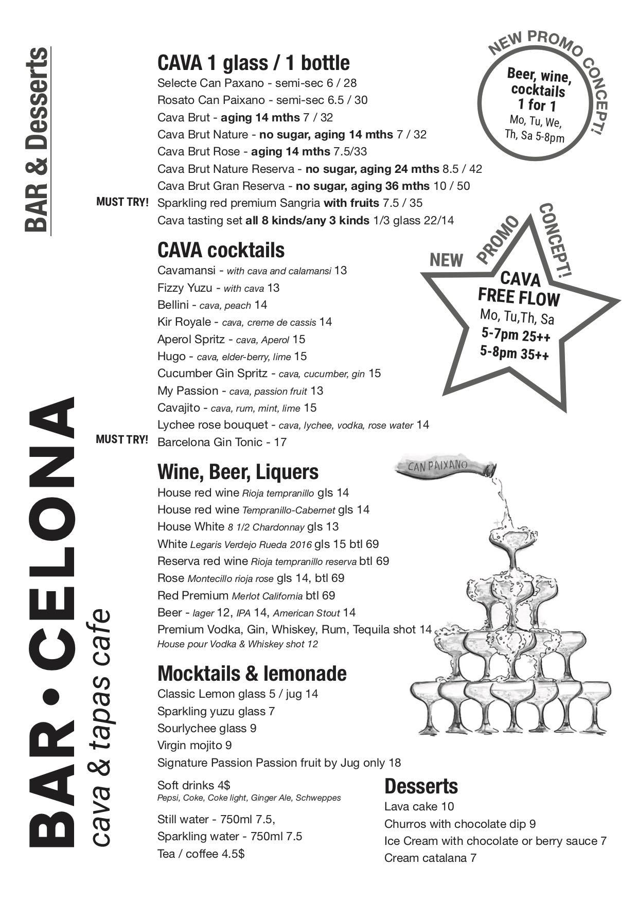 Bar.Celona menu
