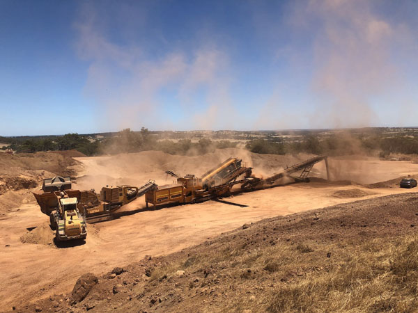 A line of crushers