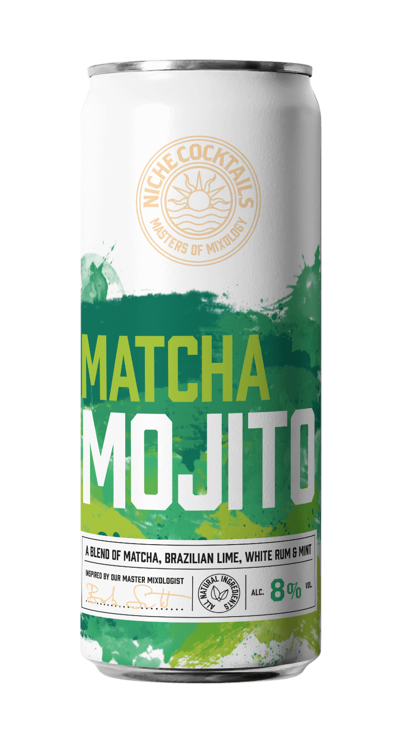 Matcha Mojito ready to drink cocktail in a can