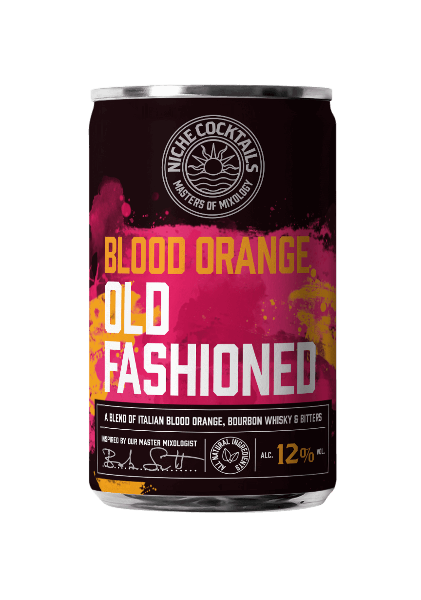 Blood Orange Old Fashioned cocktail in a can