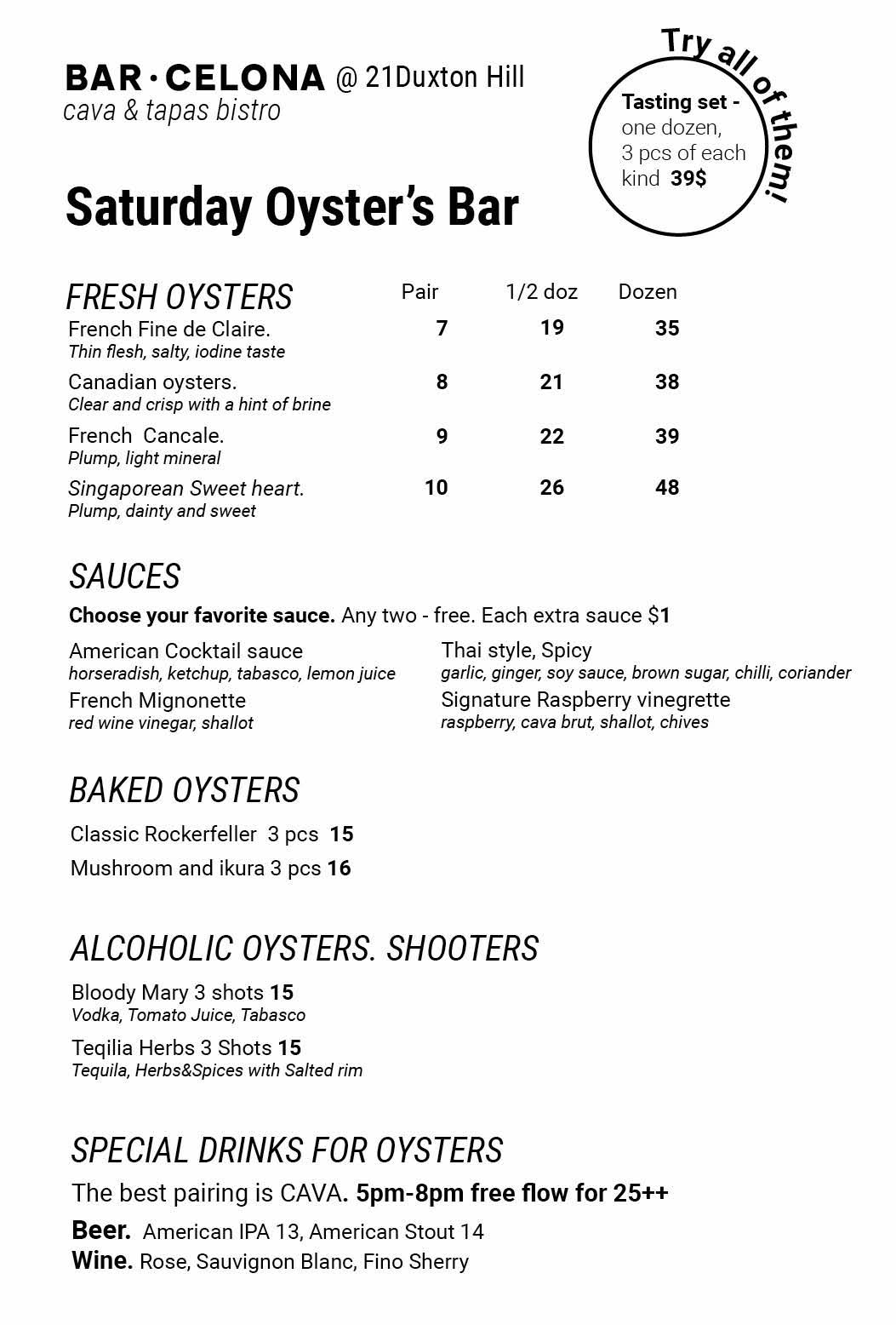 Saturday's Oyster Bar is opening every Saturday in Bar/Celona!!! All oysters from 3,5$ per pc.