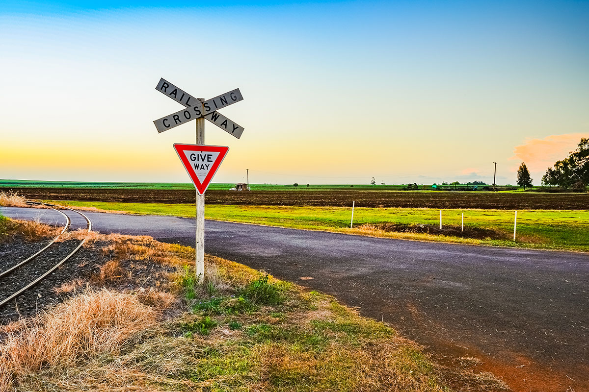 Country outback railway crossing