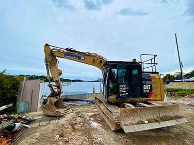 Rick Davis Contracting Compactor Hire Sydney 12 Tonne Caterpillar 312EL Excavator