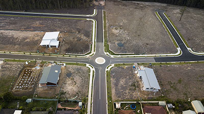 Road roundabout drone shot