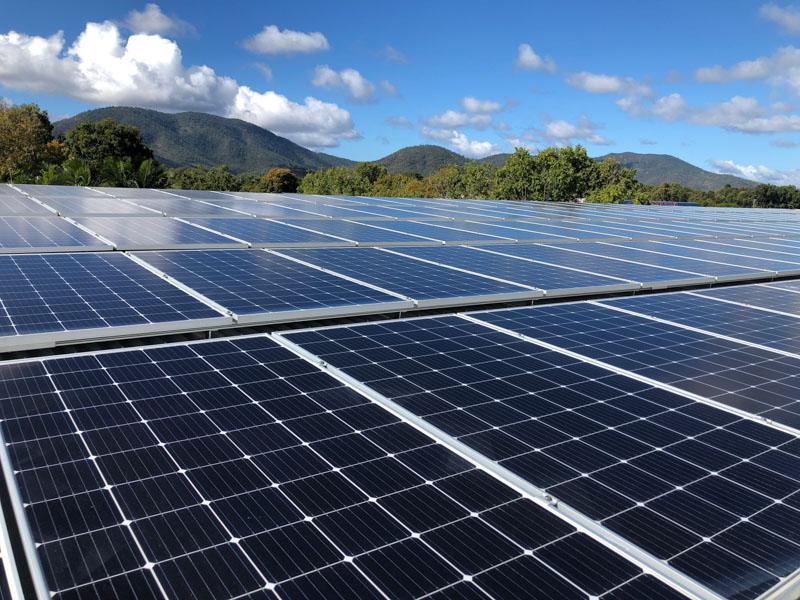 School roof solar panels
