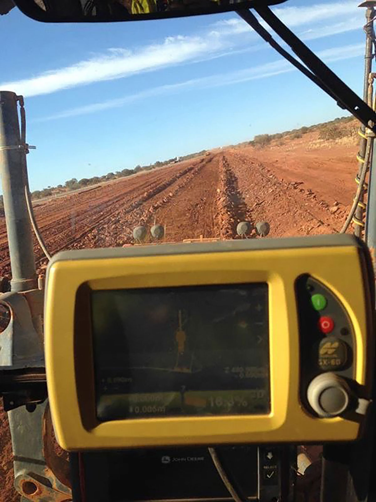 Fivestar Earthmoving Trimble GPS and view from drivers seat