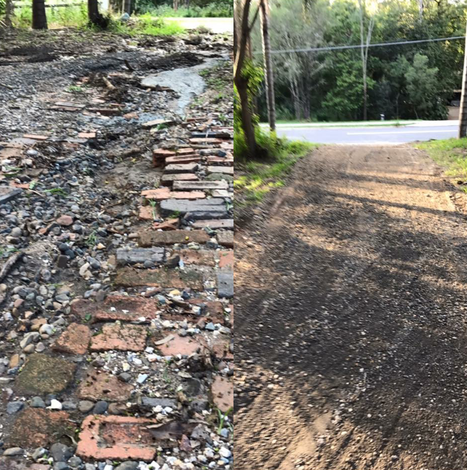 Old brick driveway removal