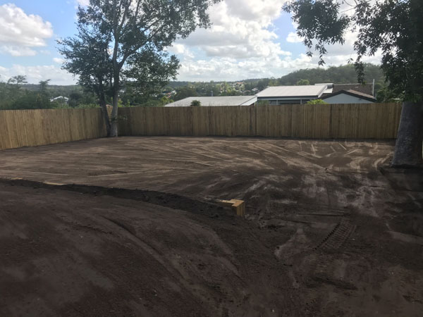 Back yard cleared, with top soil spread, ready for turf laying