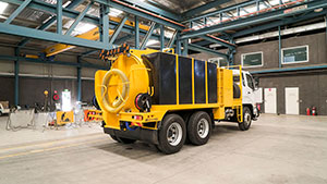 Vac U Digga NZ 3000L Vacuum Truck in the Christchurch workshop
