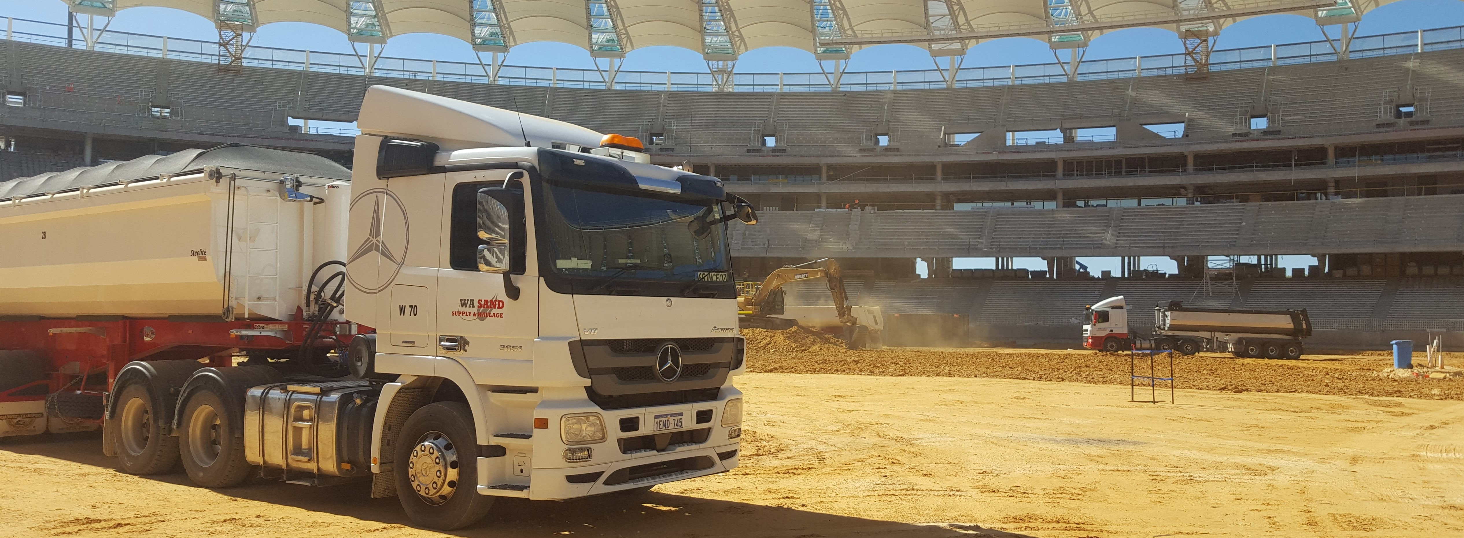 WA Sand Supply and Haulage at stadium