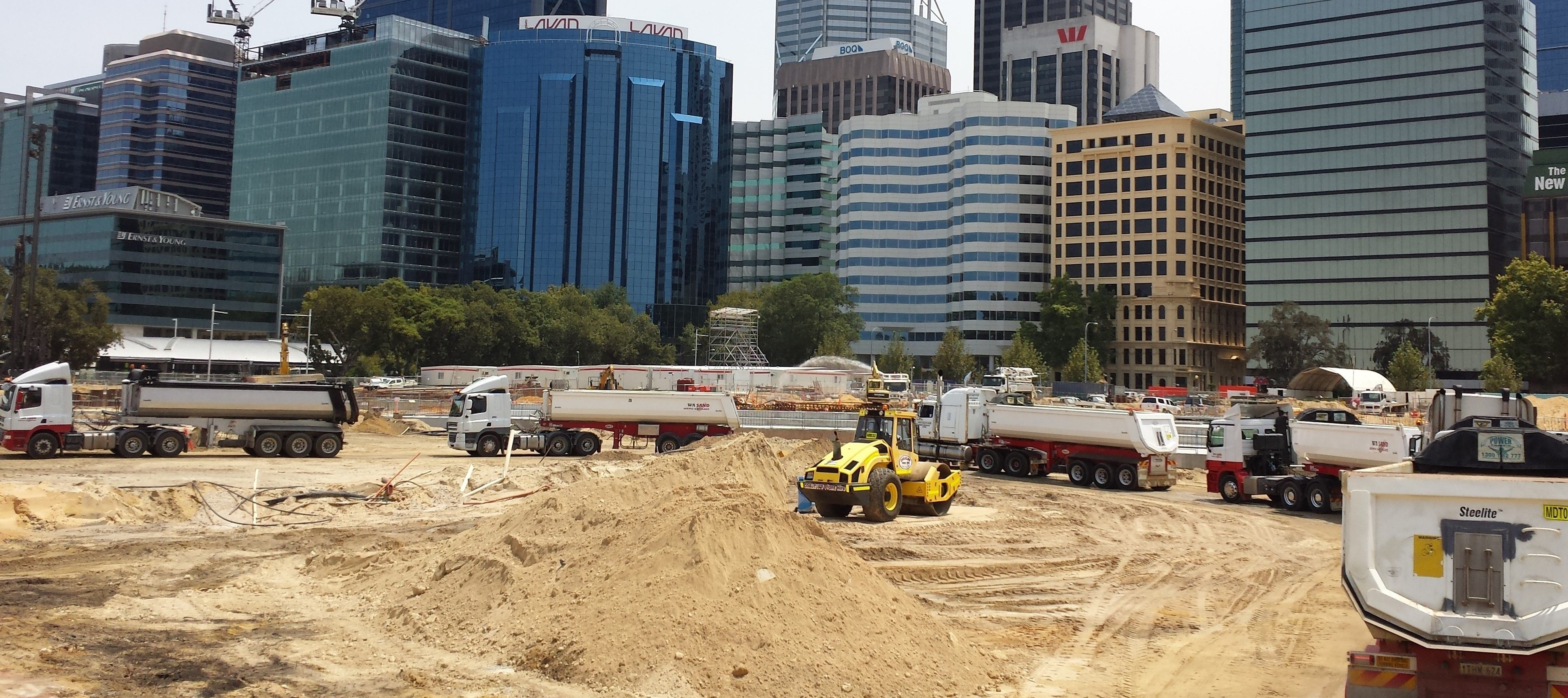 WA Sand Supply and Haulage trucks on site