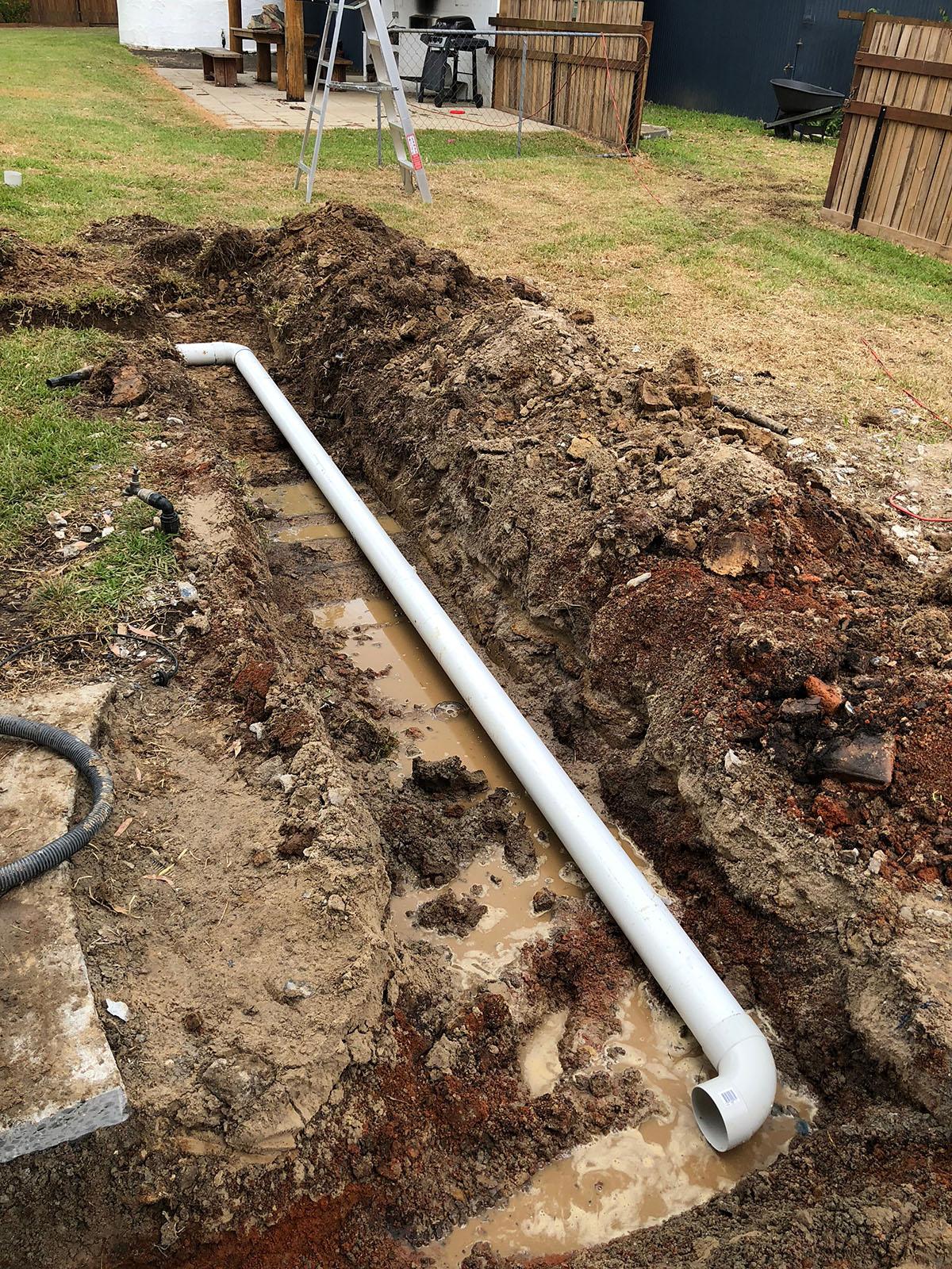 WJS plumbing excavation trenching pipe laying