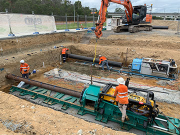AHA Boring Services Two Horizontal Drilling Augers excavating