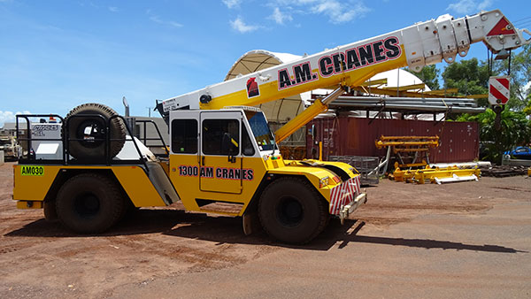 A.M. Cranes and Rigging 25 tonne franna crane for hire Darwin