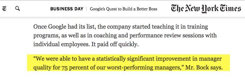 Cómo ser un buen líder - resultados de Google en el New York Times