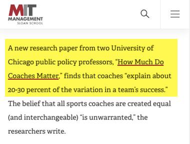 estudio de MIT sobre el efecto de coaching en los exitos de los equipos