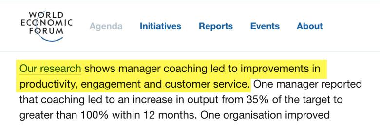 Investigacion del world economic forum mostrando el impacto de un jefe que tambien es coach