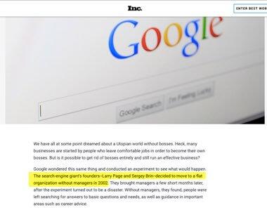 Inc articulo - Google eliminó a todos los gerentes de ingeniería