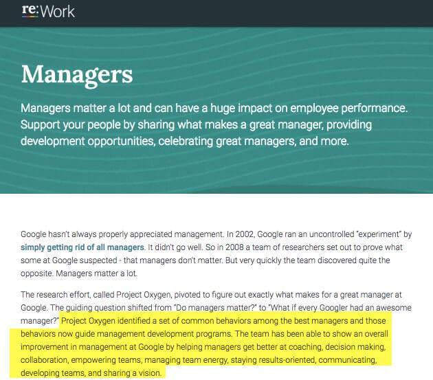 re:work - cómo ser un buen líder segun Google