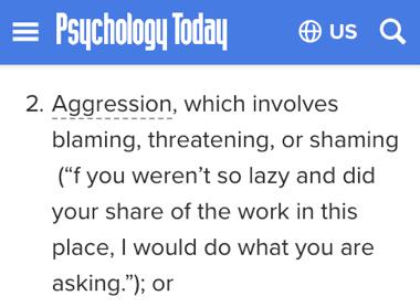 agresión según el sitio Psychology Today