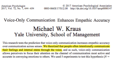 Un estudio mostrando que la gente a menudo comunicar sus sentimientos en su voz