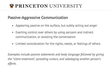 Comunicación pasivo-agresiva según la universidad de Princeton