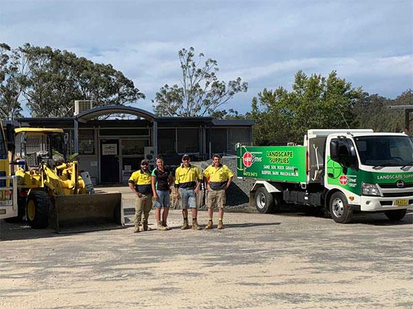 Cre8tive Landscape Supplies tipper truck and team eurobodalla shire