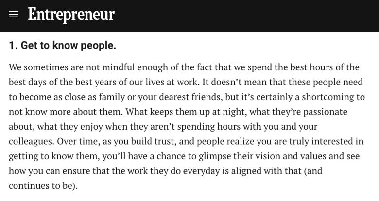 entrepreneur - tomarte el tiempo de conocer a las personas más allá de lo laboral