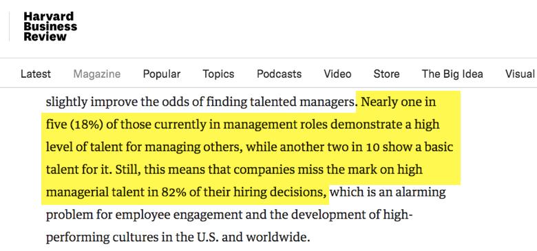 hbr - solo uno de cinco jefes demuestren altas habilidades de liderar