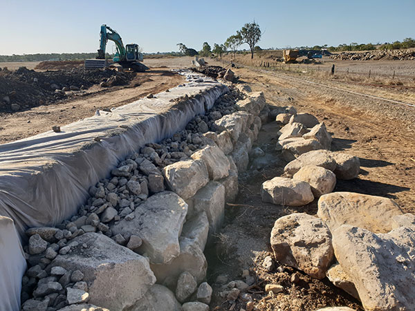 hawe-earthmoving-projects-Construction-of-boulder-wall-Belle-Edan-Estate-Stage-2G-bundaberg