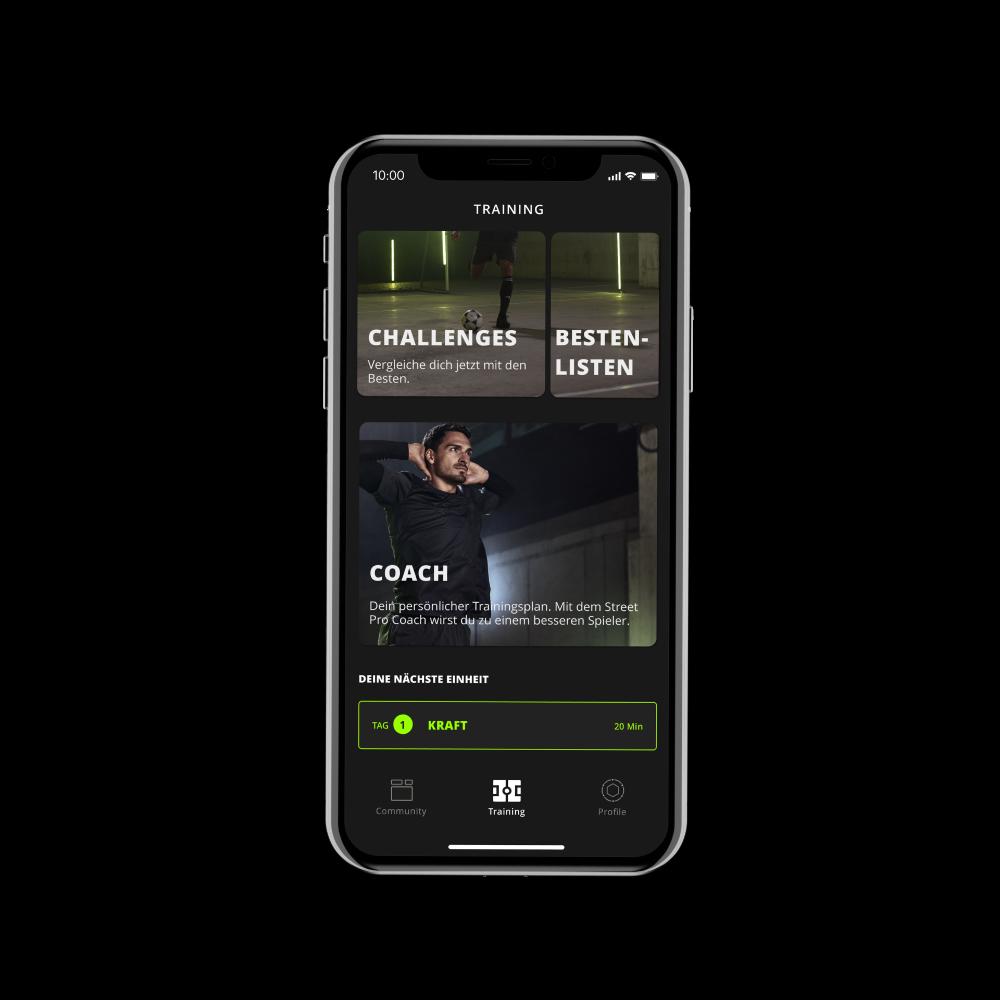 Street Pro App Trainingsscreen Coach und Challenges