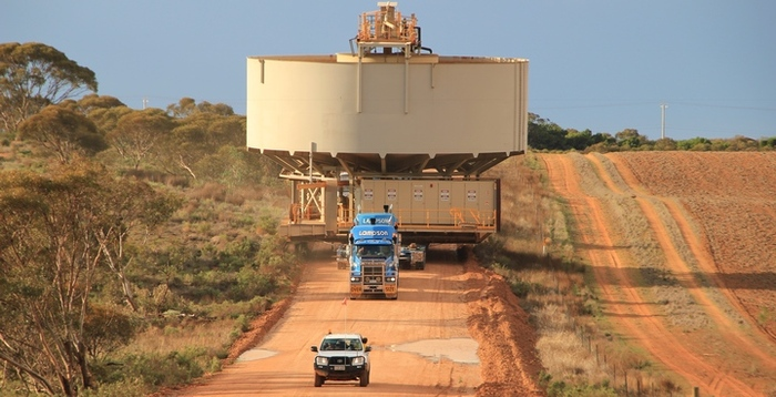 Truck hauling Water Tanker