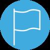 Amayaco gestión del desempeño con icono de bandera