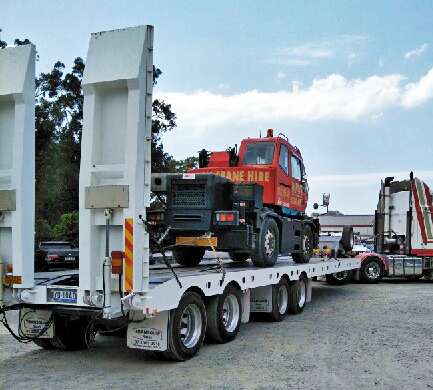 Gold Coast Crane Trucks Quad Low Loader Trailer Crane Nerang