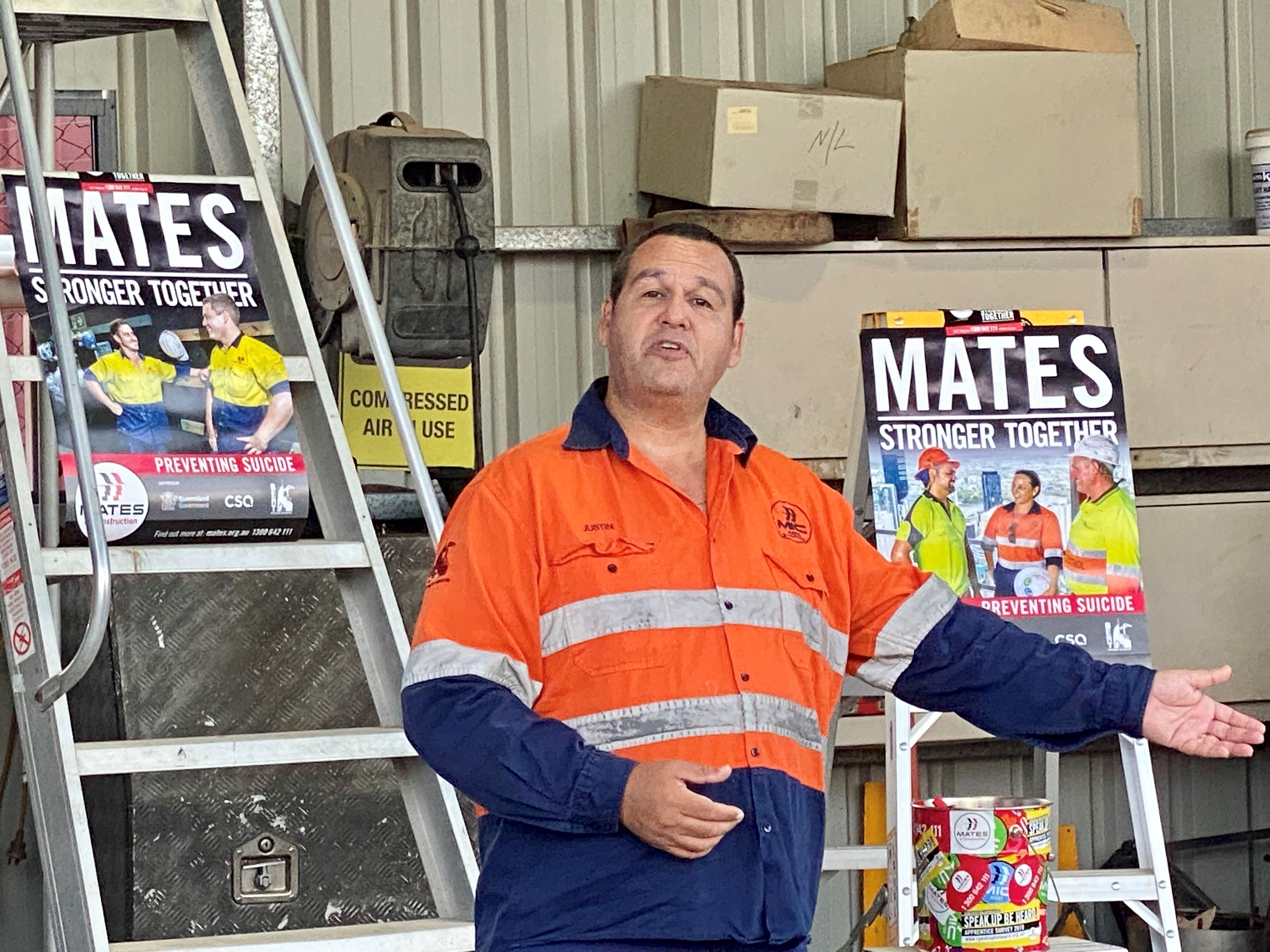 Justin Geange from Mates in Construction presenting to H2flow Hire staff.