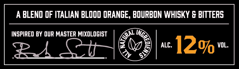 A blend of italian blood orange, bourbon whisky and bitters.