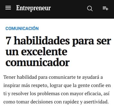 7 habilidades para ser un excelente comunicador de la revista Entrepreneur